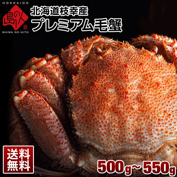 北海道 枝幸産 プレミアム毛蟹 500g~550g前後【送料無料】