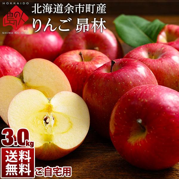 【予約販売】北海道余市産 りんご リンゴ3kg(訳あり品・品種:昴林)【送料無料】 取れたてをお届け