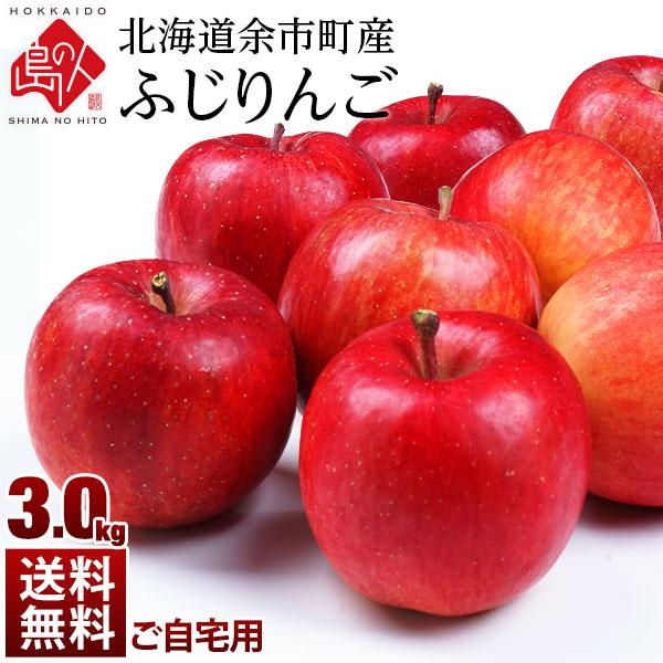 北海道余市産 りんご リンゴ3kg(訳あり品・品種:ふじ)【送料無料】 取れたてをお届け