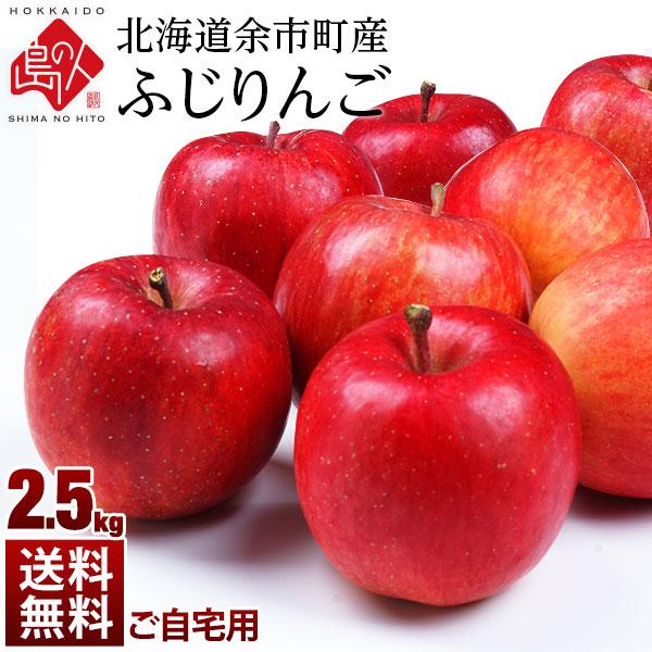北海道余市産 りんご リンゴ2.5kg(訳あり品・品種:ふじ)【送料無料】 取れたてをお届け