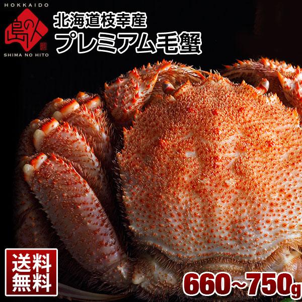 北海道 枝幸産 プレミアム毛蟹 660-750g【送料無料】